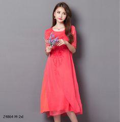 2016 summer new Fashion Leisure dress big yards female dress Vintage embroidered O-neck Short Sleeve cotton Linen Dress Z4864