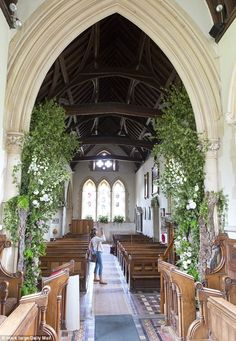 Pictures taken today showSt Mark's Church in Englefield, Berkshire, filled with the beautiful white and pink blooms that Pippa and James left for the community to enjoy.