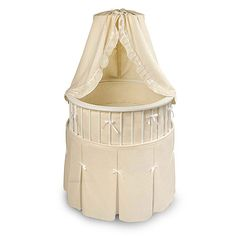 Badger Basket - Elegance Bassinet, White With Ecru Waffle Bedding