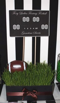 Fantasy football dinner party centerpieces! See more party planning ideas at CatchMyParty.com!