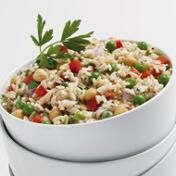 Chilled Asiago Rice Salad  1 1/4 cup  Marzetti® Asiago Peppercorn Dressing       Other Ingredients   2 pkg. (8 oz.) Instant microwaveable brown and wild rice blend, prepared; or 4 cups cooked brown rice   1 can (15 oz.) Garbanzo beans, rinsed and drained   1 cup Frozen peas, thawed by running under water and drained   1 cup Diced red onion-1/4 inch   1/4 cup Fresh chopped parsley   1 Red pepper, diced