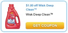 Wisk detergent is $5.97 at Walmart       Use the $1.00/1 printable coupon for Wisk Detergent  Final: $4.37    You can also print this and hold on to it because it is often on sale somewhere for $4.49-$4.99 that you can price match.    To get all the best deals, steals, and FREE Printable Coupons for Walmart, follow me on FaceBook, Twitter, YouTube, Google+, Pinterest, RSS, or email.