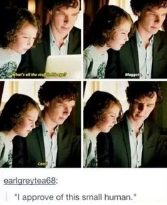 "I loved the way Sherlock interacted with Archie! ""You have to wear a suit, Archie."" ""Why?"" ""Adults like that kind of thing."" ""Why?"" ""I don't know. When I find one, I'll ask."""