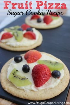 Sugar Cookie Fruit Pizza – Cookie Dough Crust and Cream Cheese Center #recipe #pizza #dessert #fruit  http://www.frugalcouponliving.com/2014/03/23/sugar-cookie-fruit-pizza/