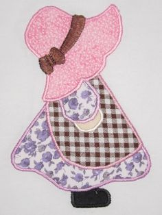 I have a wide variety of Sunbonnet Sue designs for my embroidery machine. The trick is combining the right fabrics to give it that old timey look.