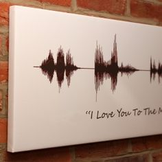 • Dispatched within 5 - 7 days for a print • Dispatched within 7 - 10 days for a canvas • UK delivery available • International delivery available • Handmade to order in the UK  To create this personalised soundwave print we take any recording you like, and transform it into your own special work of art. Make the recording on your computer or phone and email it to orders@thelostlanes.com
