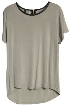 Contrast Neckline Loose Grey T-shirt (Neck hem made out of black leather) Shirt made out of cotton)