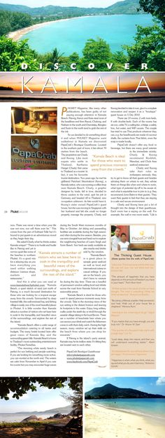 "PapaCrab Boutique Guesthouse in Kamala Beach is glad to become featured in ""The greater Phuket Magazine"", Vol.22, No. 1, February-March 2011"