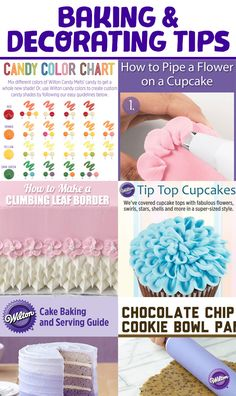 Get step-by-step tutorials for cake, cupcake and cookie decorating as well as helpful tips and tricks from the Wilton Test Kitchen and Decorating Room for all of your baking and decorating needs in the Wilton Baking & Decorating Tips board!