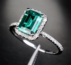 14k White Gold Emerald Halo Diamond Pave by IturraldeDiamonds, $650.00
