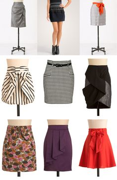 Love the different falls that make these basic skirts pop.