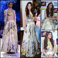 Esha Gupta in Manish Malhotra Floral prints on a modern version of a lehenga were also a feature of 2014. We love this Manish Malhotra piece Esha Gupta wore for a launch - fresh and sophisticated! The crop top (another huge trend of the year) definitely adds a more modest touch to the look. Indian designer - Indian couture #thecrimsonbride