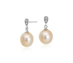 Golden South Sea Cultured Pearl and Diamond Dangle Earrings in 14k White Gold | Blue Nile Holiday Gift Guide