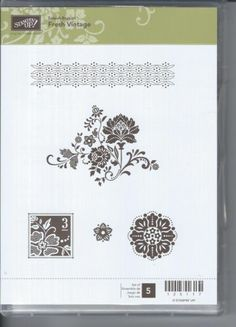 STAMPIN' UP! FRESH VINTAGE RUBBER CLING CLEAR MOUNT 5 Piece STAMP SET NEW