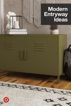 Give your entryway or living room a modern update with decor & furniture that adds style & storage to your space. Table Furniture, Cool Furniture, Furniture Design, Modern Entryway, Entryway Ideas, Kirkland House, Apt Ideas, Room Ideas, Metal Lockers