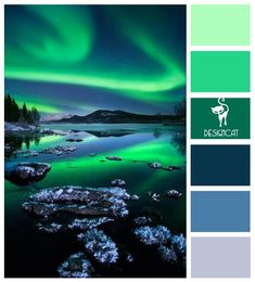 Aroura: Blue, Green - Colour Inspiration Pallet MASTER BEDROOM The amazing Northern Lights, officially known in the Northern hemisphere as Aurora Borelias, are natural phenomena that features amazing colored light Color Schemes Colour Palettes, Paint Color Schemes, Colour Pallette, Color Combos, Paint Colors, Green Colors, Light Colors, Blue Green, Colours