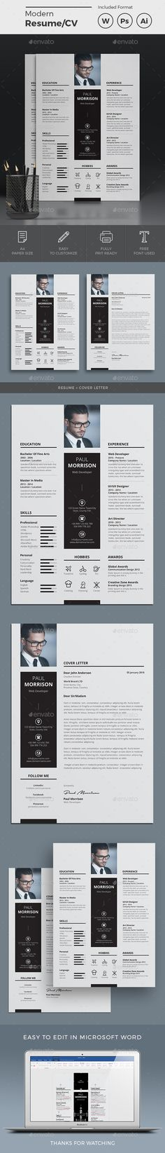 Resume A4 Template PSD, AI Illustrator, MS Word