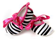 Canvas Zebra Ballet Slipper Shoes w/ Hot Pink Satin Ribbon