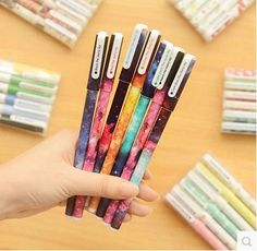 New Arrival! The Starry Sky pens-- Set of 6pcs gel pens for DIY scrapbook, painting, drawing, writing, sign---2 Styles to choose by alicemolds on Etsy