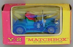 Vintage boxed matchbox models of yesteryear y-2 blue 1911 renault 2 seater car