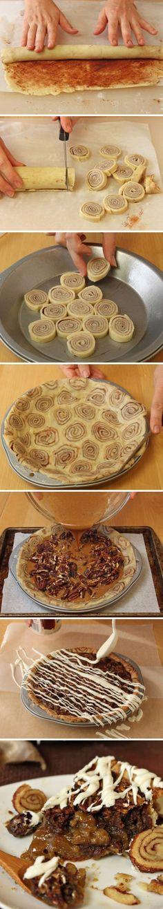 Cinnamon Bun Pecan Pie   Recipe By Photo