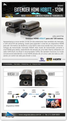 Nova Versão 2.0 do Extensor HDMI HDbitT para 120 metros. LEN-LKV373A