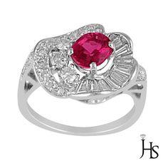 Platinum 2.10 Cts Round Diamond G-H/VS2 Pink Tourmaline (AAA) Fancy Fashion Ring #WomensClassicGemstoneRingJewelryhotspot