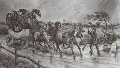 A mail coach being drawn by horses along a road in heavy #rain, near #Taunton, #Somerset, 19th Century.
