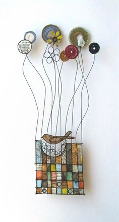 Liz Cooksey at madebyhandonline. Mixed media by Liz Cooksey. Wire Crafts, Paper Crafts, Stained Glass Art, Diy Arts And Crafts, Textile Artists, Wire Art, Fabric Art, Artist At Work, Altered Art