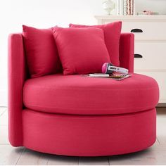 PB Teen Round-About Chair, Pink Magenta Linen Blend at Pottery Barn... (845 CAD) ❤ liked on Polyvore featuring home, furniture, chairs, accent chairs, pbteen, pink furniture, pink accent chair, pink chair and plush chair