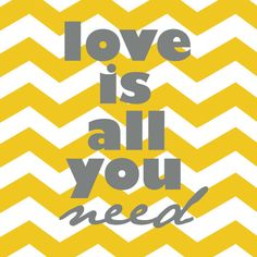 Love Is All You Need Beatles yellow and grey by westeightythird, $11.00