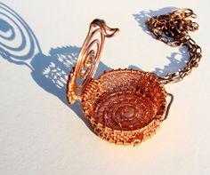 Copper Net Locket (Open) By Ruth Jensen