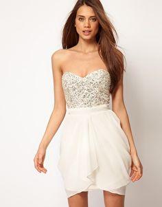 cream sequins dress.