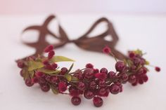 Red Berry Raspberry Twig Woodland Hair Crown by littlehoneypies, $25.00
