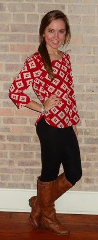 Red pattern top, navy leggings, tan boot, fall fashion - Studio 3:19