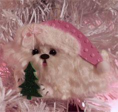 Maltese Dog Christmas ornament with Christmas Tree OOAK CTD
