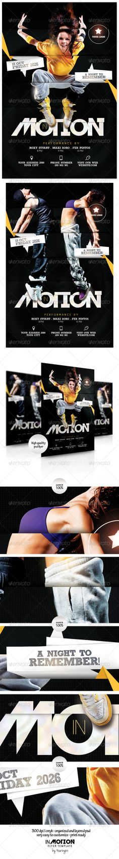 In Motion Flyer Template / $6. *** This flyer is perfect for the promotion of Events, Club Parties, Concerts, Musicals, Shows, Festivals, Theaters, Promotions or Whatever You Want!.***