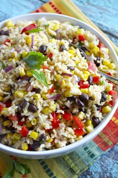 Southwest Brown Rice Salad - Fashionable Foods - Brown rice is tossed with black beans, corn, red onion, red pepper, and a southwest-flavored dressi - Rice Salad Recipes, Brown Rice Recipes, Jasmine Rice Recipes, Brown Recipe, Rice Side Dishes, Summer Side Dishes, Lunch Snacks, Vegetarian Recipes, Cooking Recipes