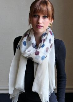 Women's Marie Polka Dot Fine Wool Scarf / Shawl / Wrap Anika Dali ,  Fashion Scarves, dots, polka, maroon blue, formal, dressy scarves, pashmina shawls, shawls, wraps, cute, pretty, unique scarves, holiday scarf, holiday gifts for women, affordable, easy to wear, versatile shawls, designer scarves, stylish, modern, trendy, designer shawls, navy blue, multicolor, super soft