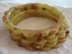 5 Green Marbled Bakelite Carved Scalloped Bakelite Bangle Bracelets