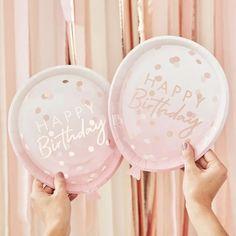 Ginger Ray Rose Gold Confetti Balloon Plates – Build a Birthday NZ Birthday Garland, Birthday Plate, Happy Birthday Balloons, Gold Birthday, 21st Birthday, Birthday Celebration, Happy Brithday, Birthday Sash, Birthday Lunch