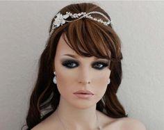 Silver Crystal Vine Headband Pearl Bridal Headpiece Bride Hair