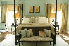 Traditional Master Bedroom with Light Gold Colored Curtains & Accents Against the Light Sea Foam Walls (Scott Sanders)