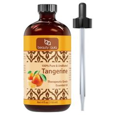 Beauty Aura Tangerine Essential Oil - 4 Oz. Bottle - 100% Pure, Undiluted Therapeutic Grade Oils - Ideal for Aromatherapy & Diffusers