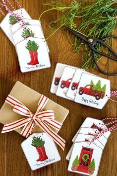 Free Printable Christmas Gift Tags – On Sutton Place – Christmas DIY Holiday Cards Christmas Gift Wrapping, Diy Christmas Gifts, All Things Christmas, Holiday Crafts, Christmas Holidays, Christmas Decorations, Christmas Carol, Xmas, Christmas Tree