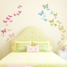 Decowall Patterned Butterflies Kids Wall Stickers Wall Decals Peel and Stick Removable Wall Stickers for Kids Nursery Bedroom Living Room Girls Wall Stickers, Room Stickers, Childrens Wall Stickers, Removable Wall Stickers, Kids Wall Decals, Butterfly Wall Stickers, Art Pour Salon, Kids Room Wallpaper, Nursery Wall Stickers