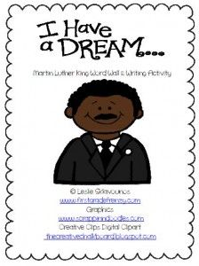 mlk word wall words and writing activity
