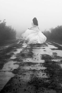 Running away from your problems is a race you'll never win. Be strong. Cute for after the wedding, not running away from your wedding though! Dark Photography, Black And White Photography, Wedding Photography, Photography Ideas, Story Inspiration, Character Inspiration, Fantasy Magic, She Was Beautiful, Running Away