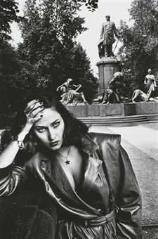 Young Woman and Bismarck Monument, Berlin, German Vogue, 1979