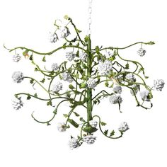 """Canopy Designs one-of-a-kind collection reintroduces Italian and French influences to the home. Expressing the beauty of natural elements, this beautiful chandelier makes a sophisticated accent in a living room or foyer. On an asymmetrical, green vine-inspired steel frame, white porcelain flowers lend a delicate aesthetic. Accepts six 60W max bulbs (not included). Chain and canopy included. Hardwired. 30""""W x 24""""H. Chain: 3'L."""